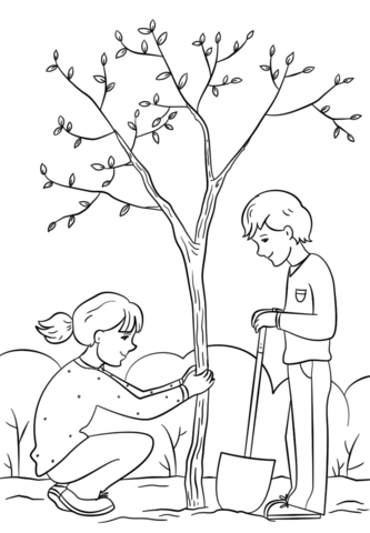 333x480 Girl And Boy Planting A Tree Coloring Page Free Printable