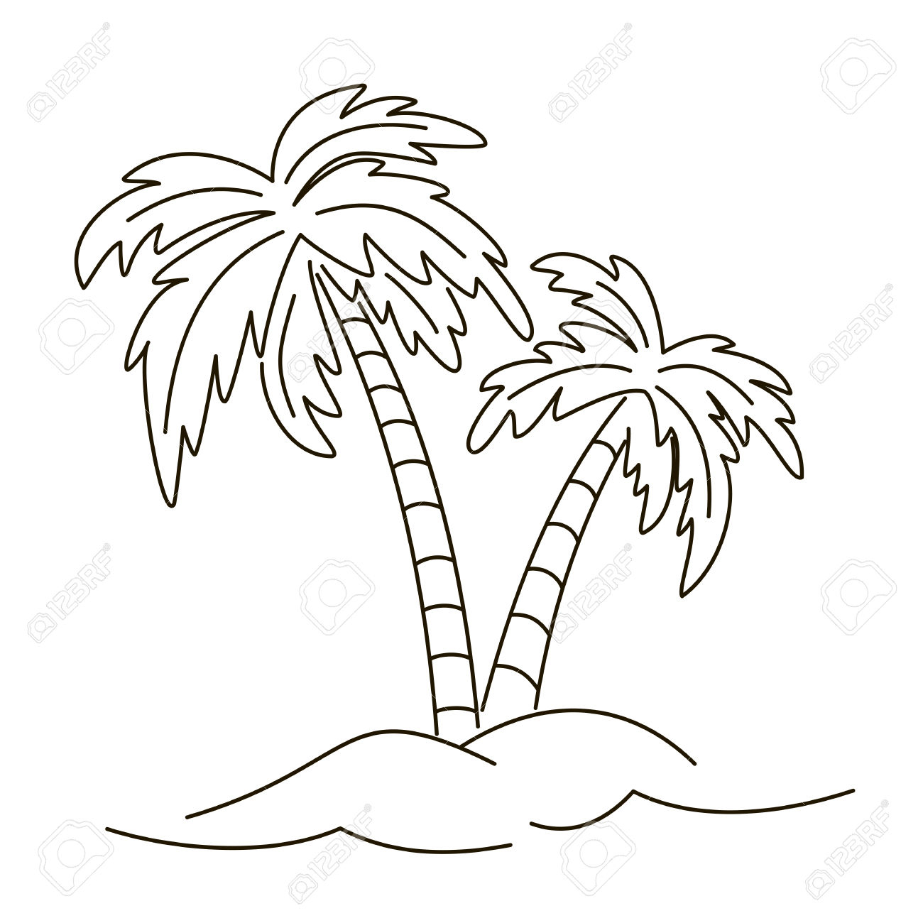 1300x1300 Palm Tree Drawing Outline Palm Trees, Outline Contours On White