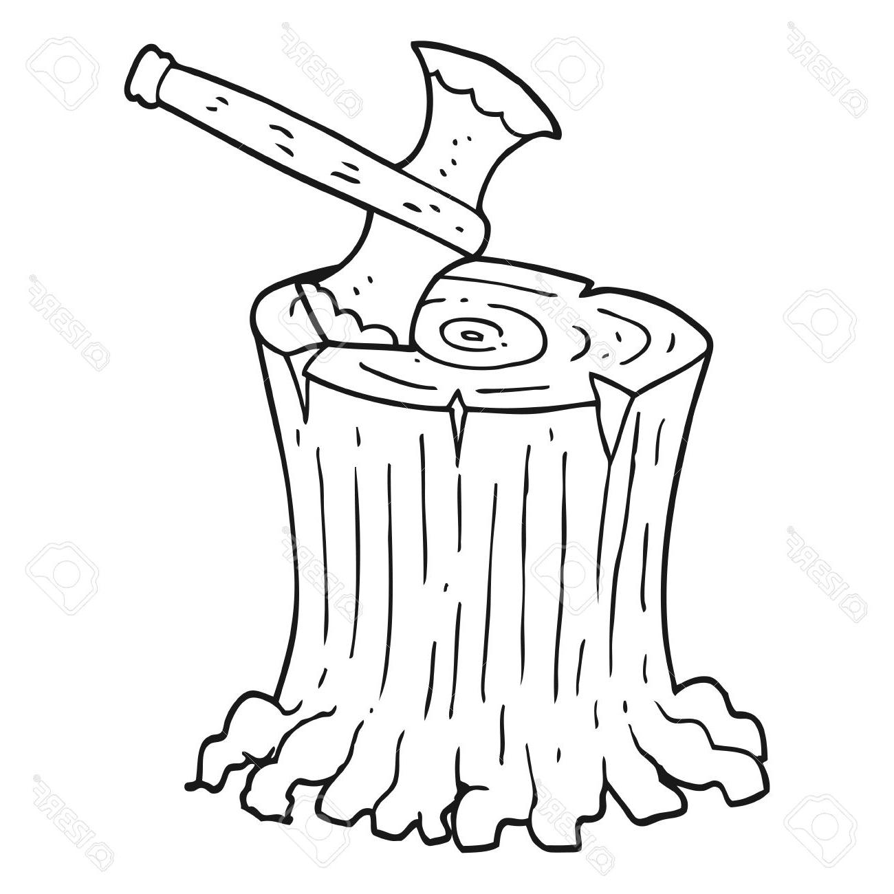 1300x1300 Best 15 Freehand Drawn Black And White Cartoon Axe In Tree Stump