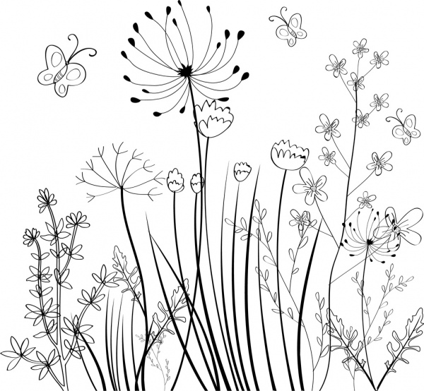 Black and white drawing of flowers at getdrawings free for 600x554 wild flowers field background black white sketch free vector in mightylinksfo