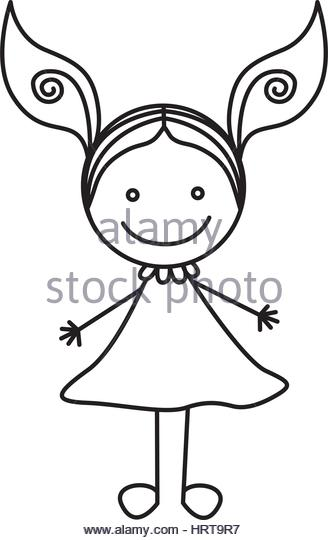 328x540 Cute Little Girl Outline Drawing Stock Photos Amp Cute Little Girl