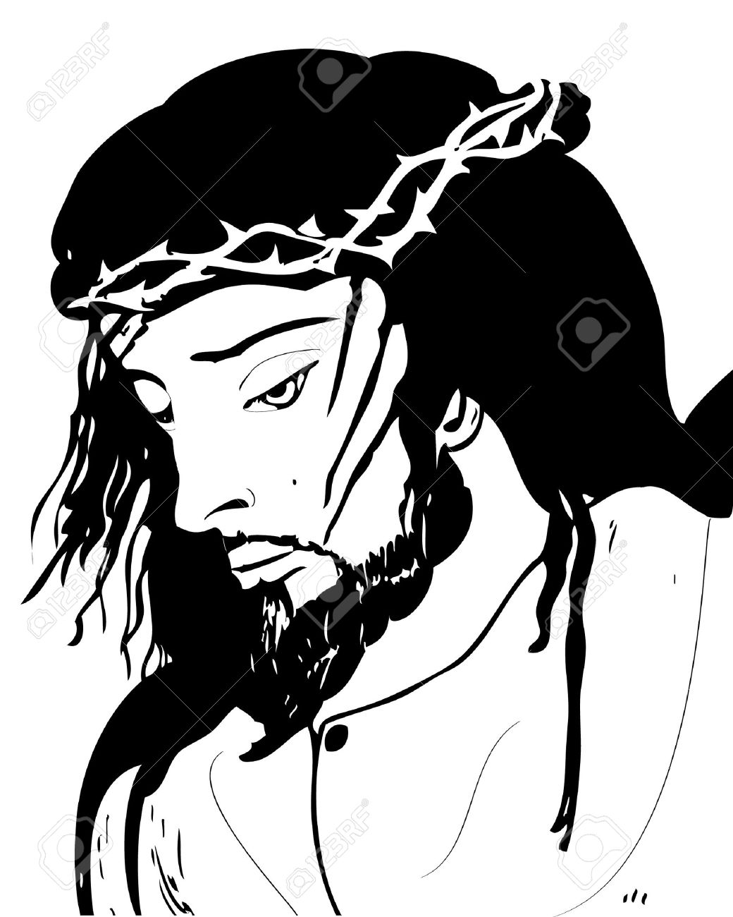 Black And White Drawing Of Jesus