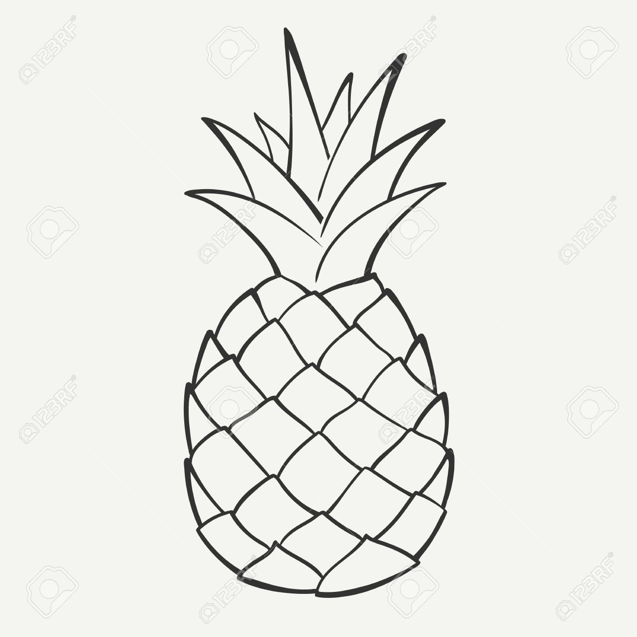 1300x1300 Outline Black And White Image Of A Pineapple Royalty Free Cliparts