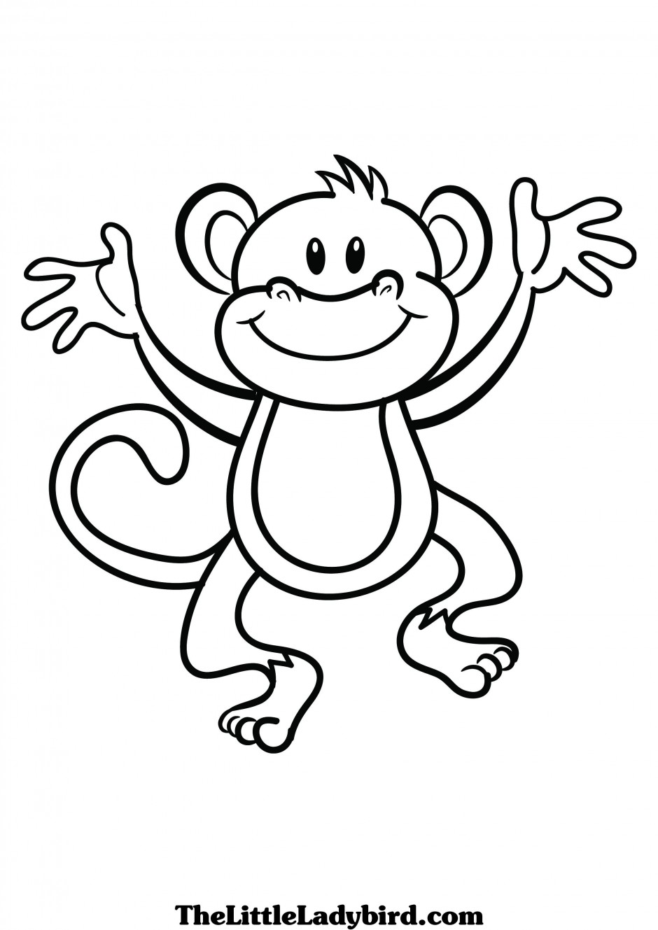 940x1329 Monkey Black And White Outline