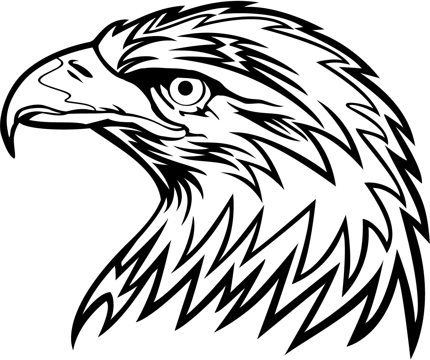 1500x1258 Black And White Eagle Head Clipart Coloring Pages