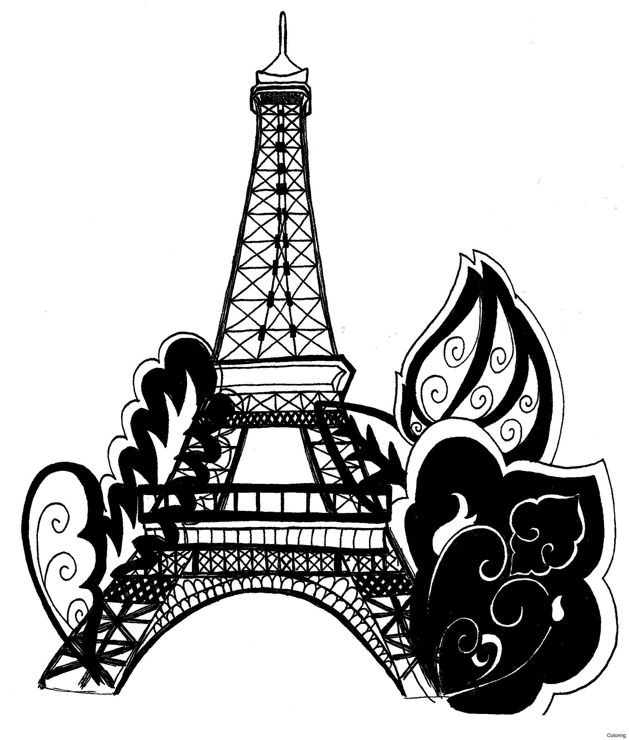 Black And White Eiffel Tower Drawing
