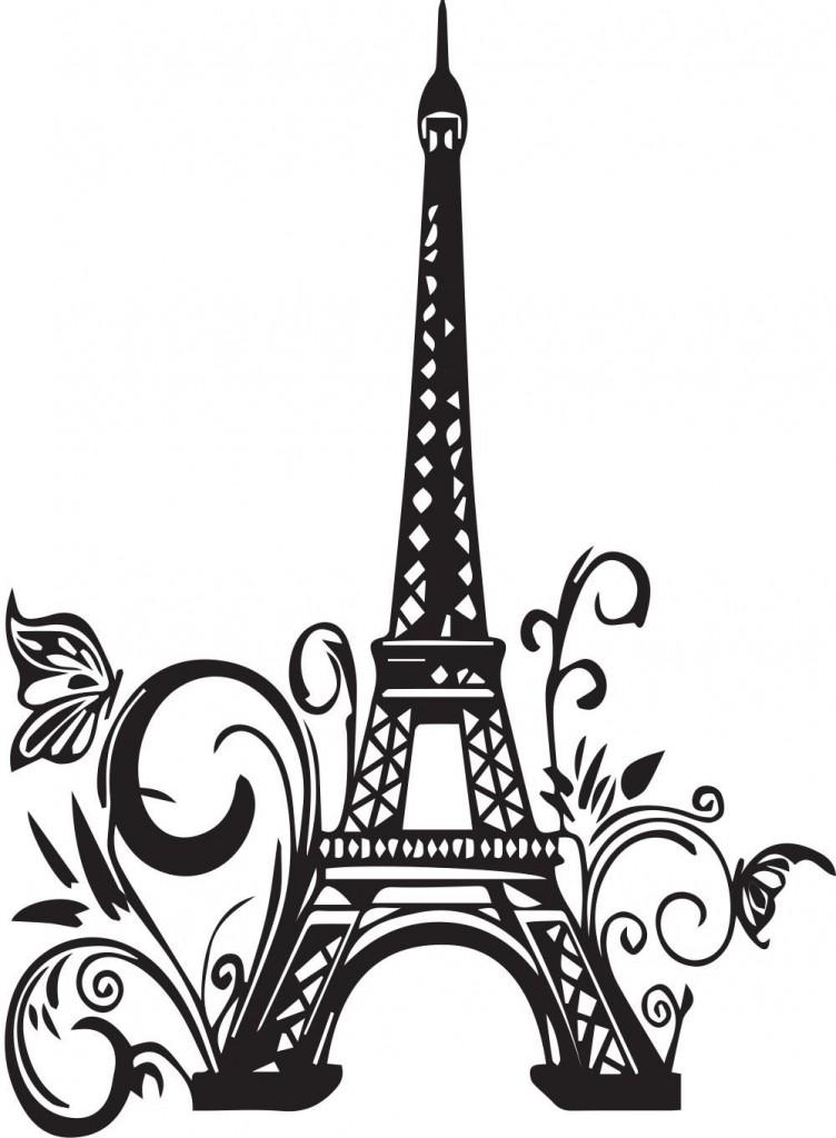 752x1024 Paris Eiffel Tower Silhouette Wall Art Decals