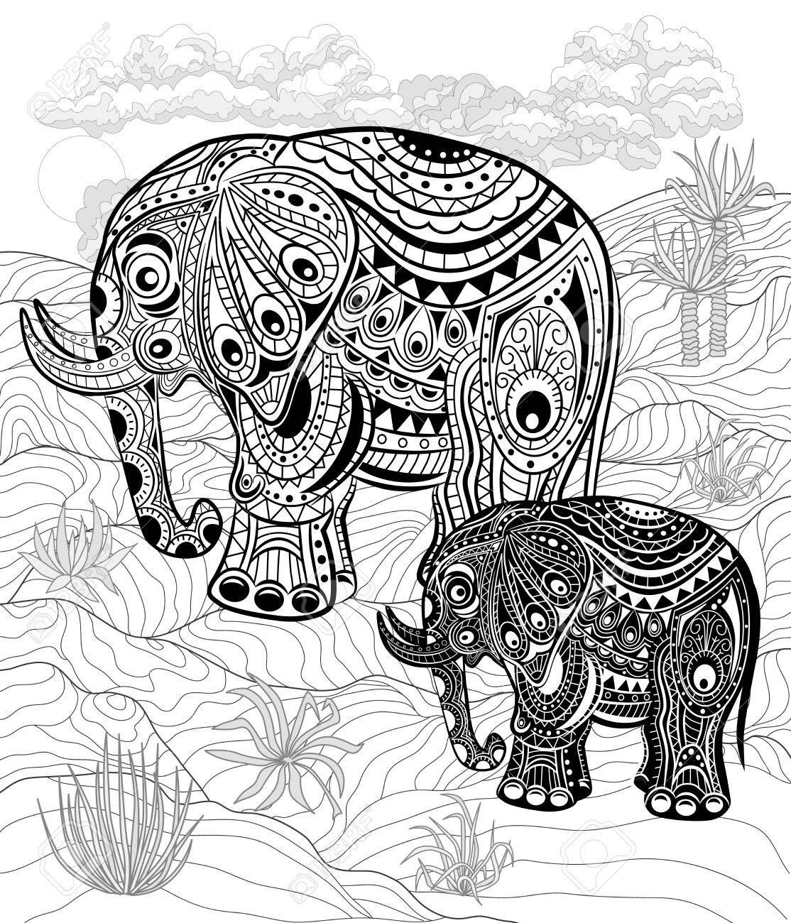 Black And White Elephant Drawing at GetDrawings.com | Free for ...