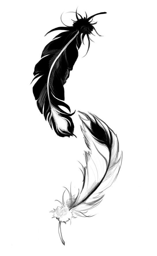 545x886 Ying Yang Feather By ~lilythula On Viva La Tattoos