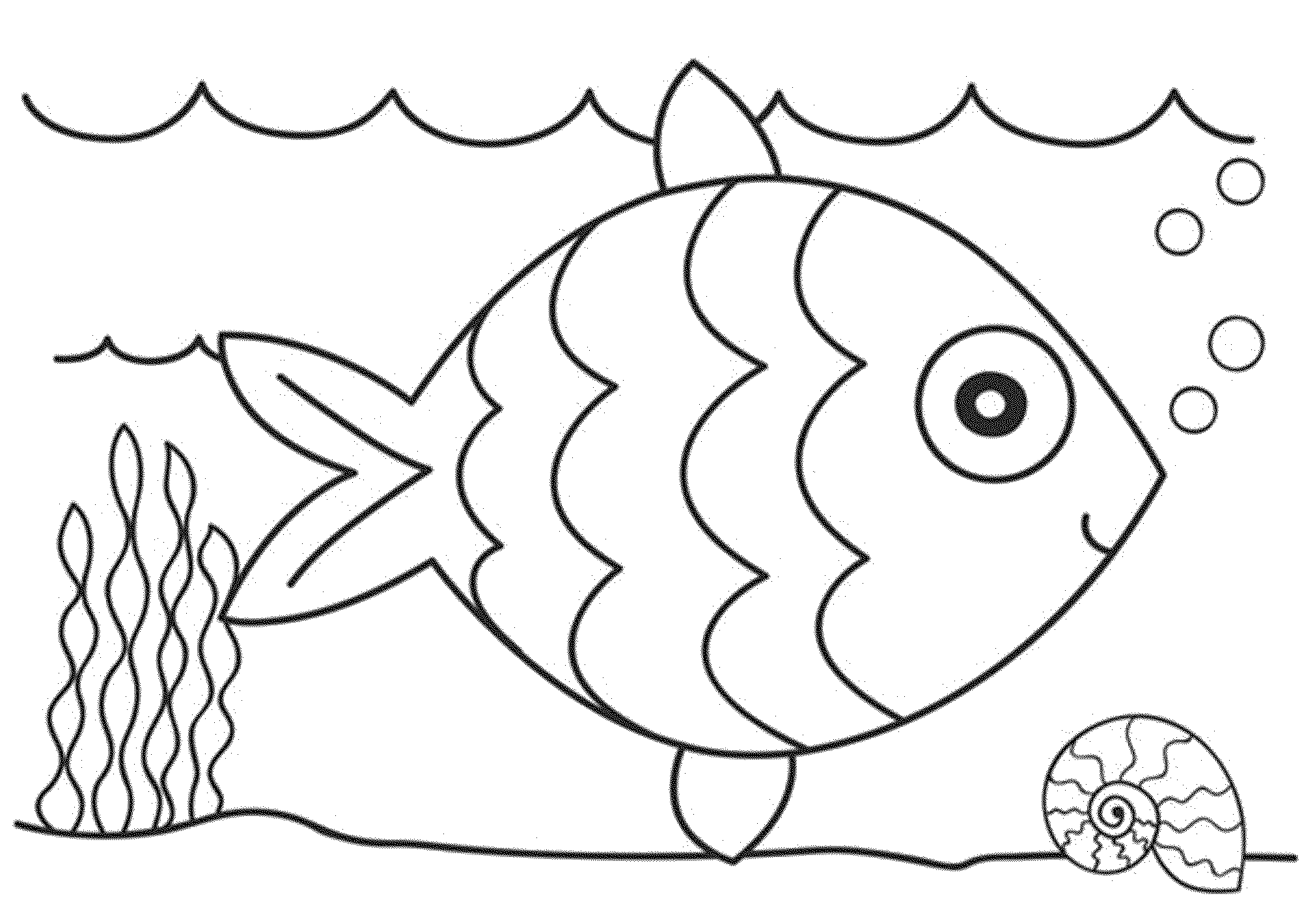 2000x1420 Cartoon Black And White Fish