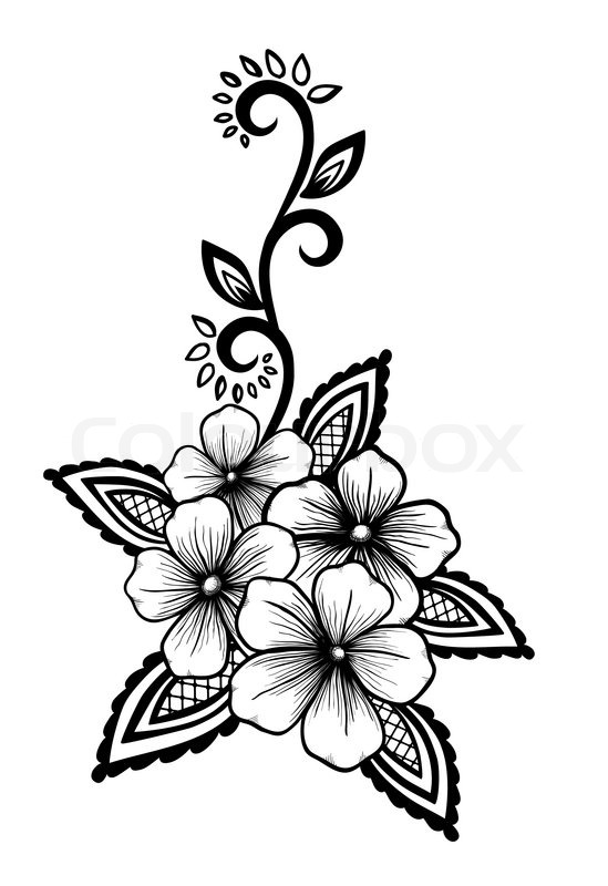 Black and white flower drawing at getdrawings free for 549x800 beautiful floral element black and white flowers and leaves mightylinksfo Image collections