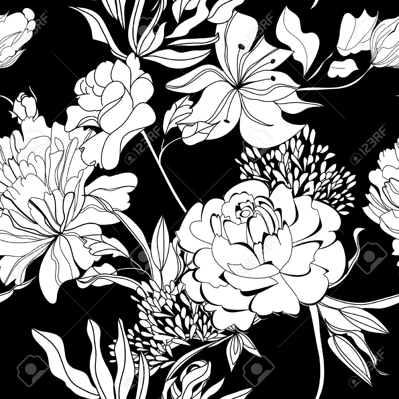 Black and white flowers drawing at getdrawings free for 1300x1300 gallery black wallpaper with white flowers mightylinksfo