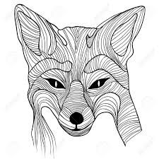Black And White Fox Drawing