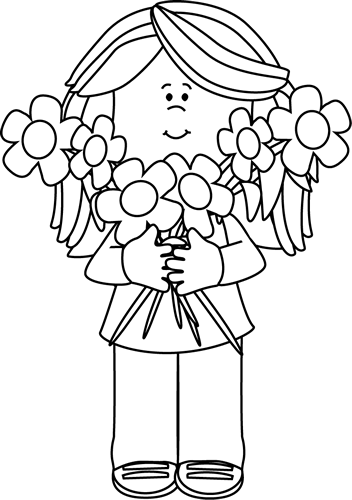 352x500 Black And White Girl Holding A Bunch Of Flowers Clip Art
