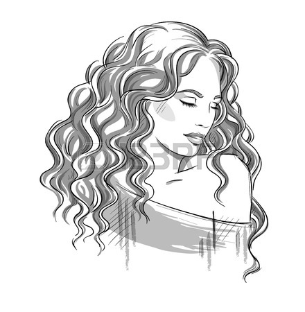 440x450 Sketch Of A Beautiful Girl With Curly Hair. Black And White
