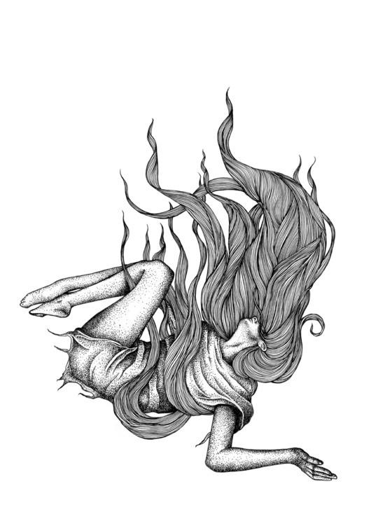550x721 Drawing Illustration Art Hair Girl Black And White Design Bampw Fall