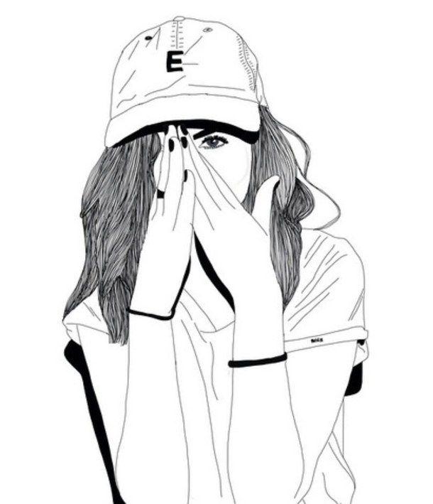 610x709 Outline Tumblr Girls Black And White