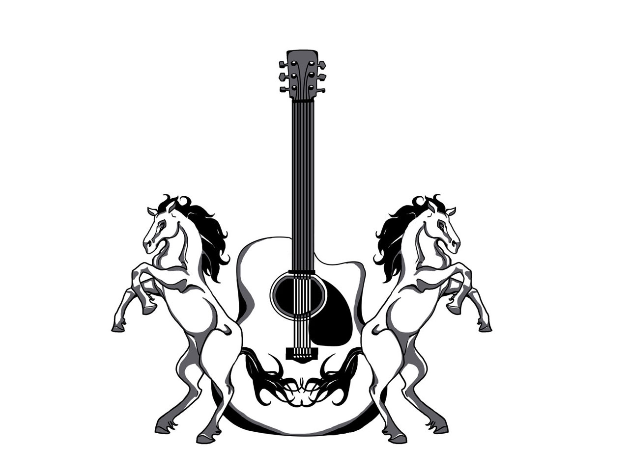 Black And White Guitar Drawing