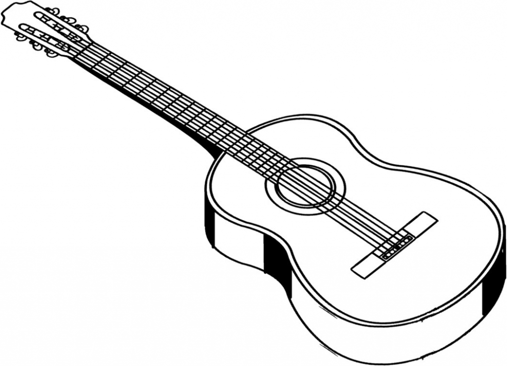 black and white guitar drawing at getdrawingscom free