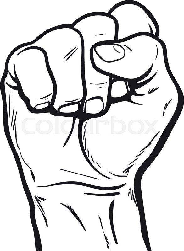 585x800 Clenched Fist. Hand Clenched Fist. Hand Showing A Fist. Vector