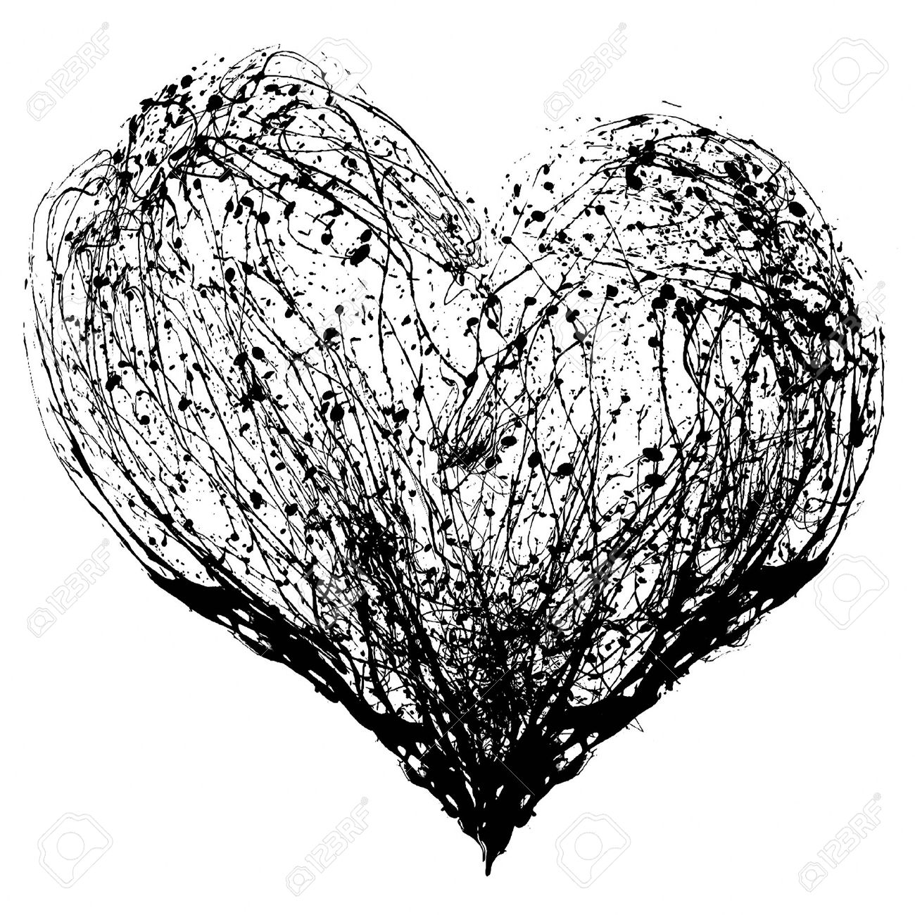 Black And White Heart Drawing