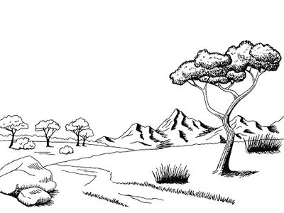 400x300 Savannah Pathway Graphic Art Black White Landscape Sketch