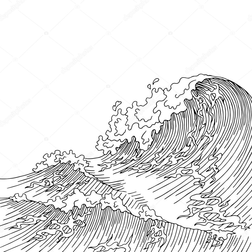 1024x1024 Sea Wave Graphic Art Surf Black White Landscape Sketch
