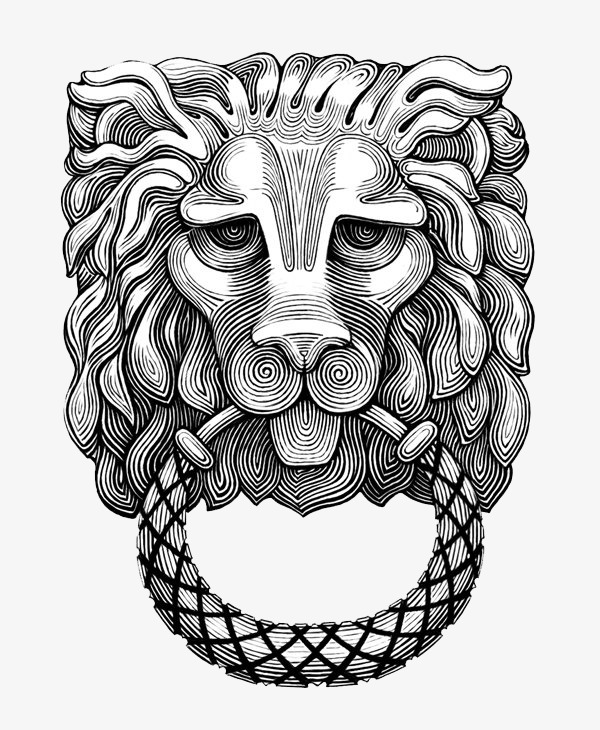 600x730 Black And White Lion Head Pattern, Black And White, Lion Head