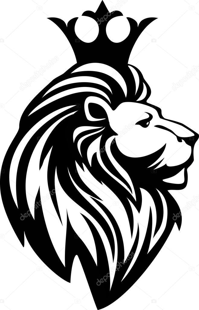 659x1023 Black And White Lion Head With A Crown Stock Vector Skywayx