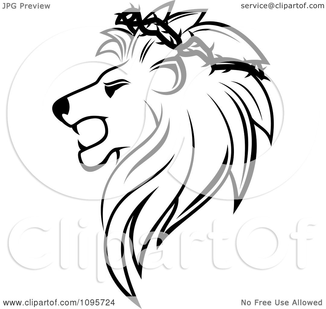 1080x1024 Clipart Black And White Lion Head In Profile With A Thorny Wreath