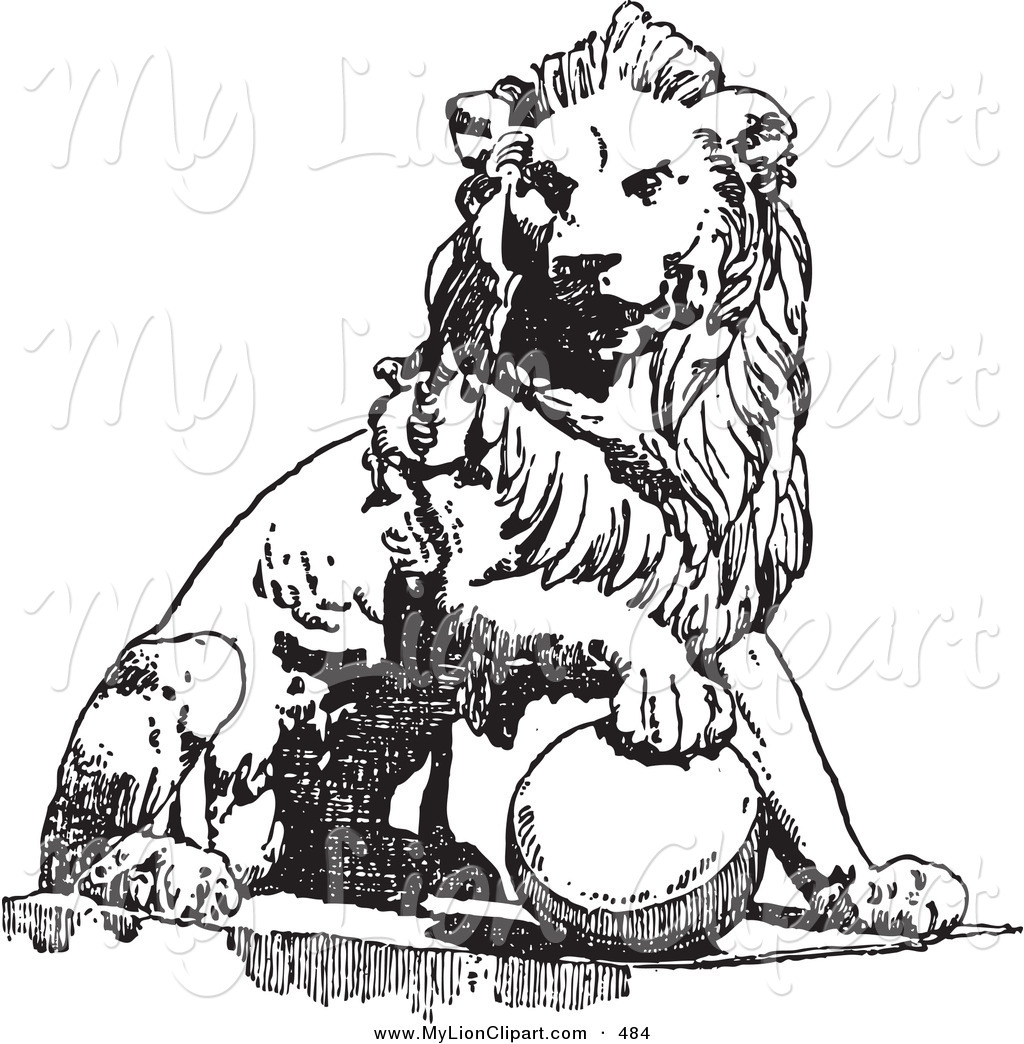 1024x1044 Clipart Of A Vintage Black And White Lion Sketch Over White By