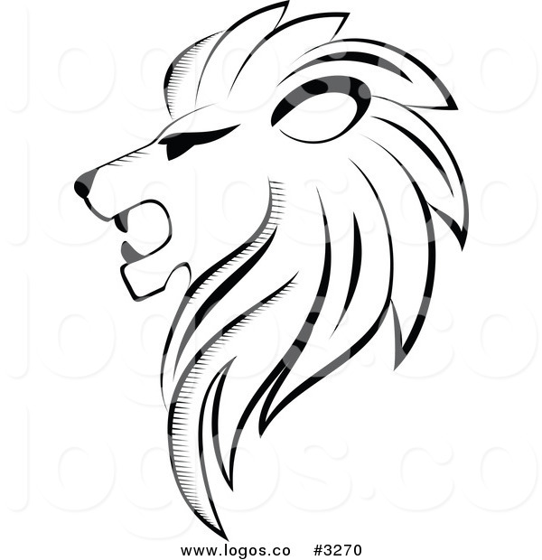 600x620 Royalty Free Vector Of A Black And White Lion Head Logo By Vector