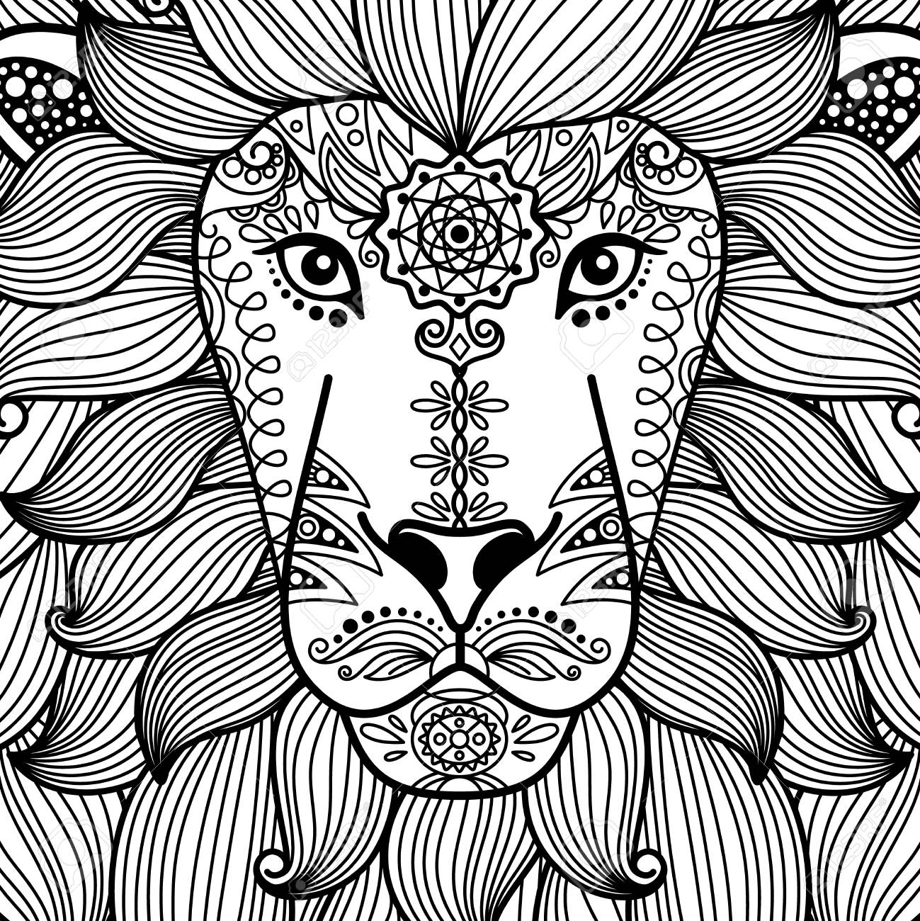 1299x1300 Tribal Ornamental Black And White Lion Head. Vector Illustratoin