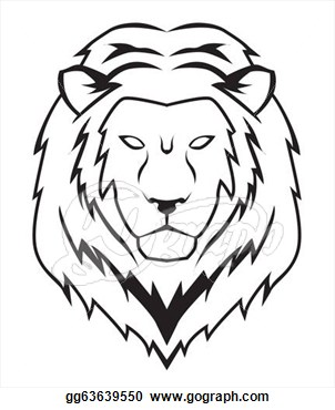 302x370 Black Ad White Lion Head Clipart