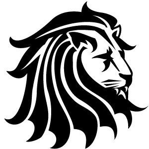 300x300 Black White Clipart Tags Lion , Animal , Head , Black