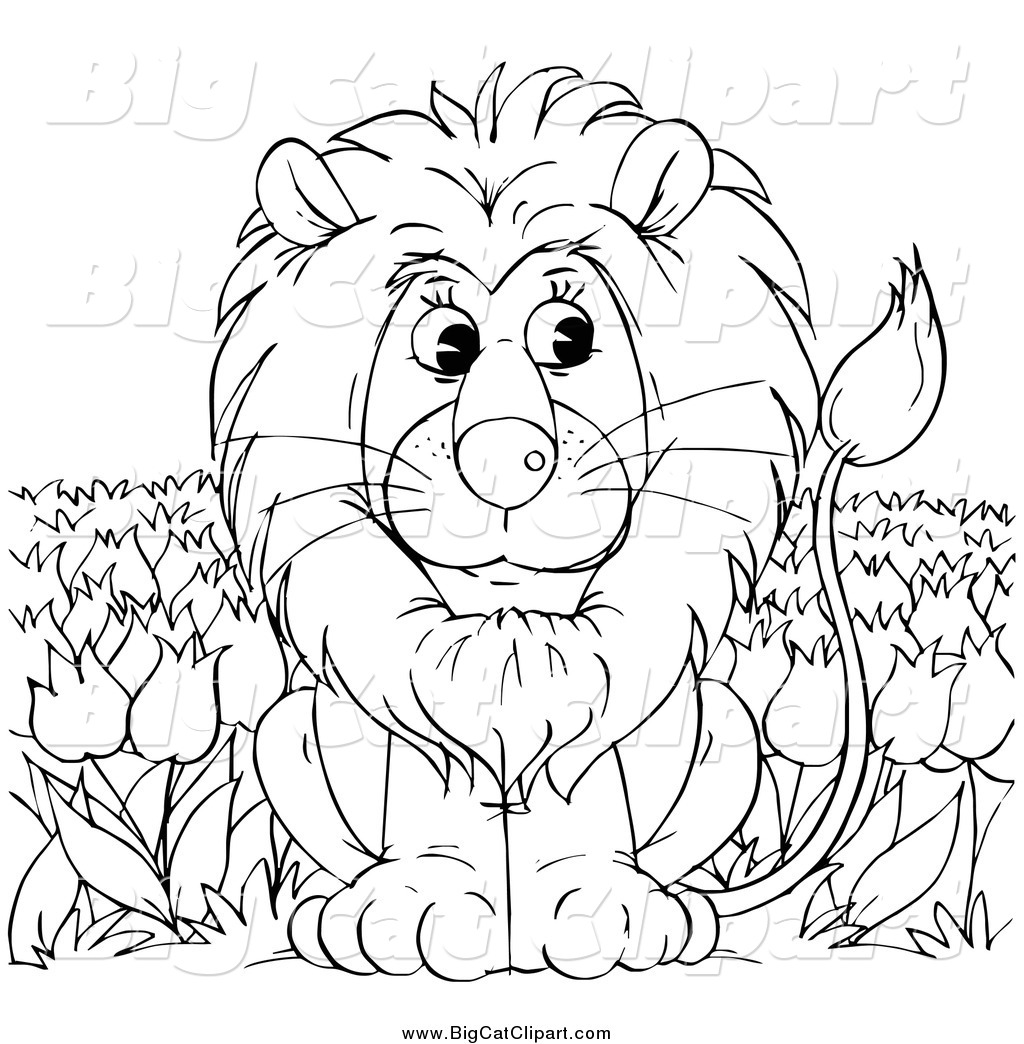 1024x1044 Big Cat Clipart Of A Black And White Lion Sitting In A Tulip Field