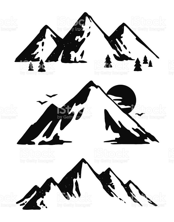 Black And White Mountain Drawing