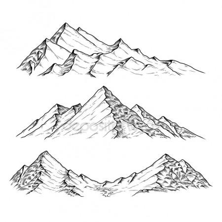 450x450 Hand Drawn Illustration The Mountains Stock Photo Vectorpocket