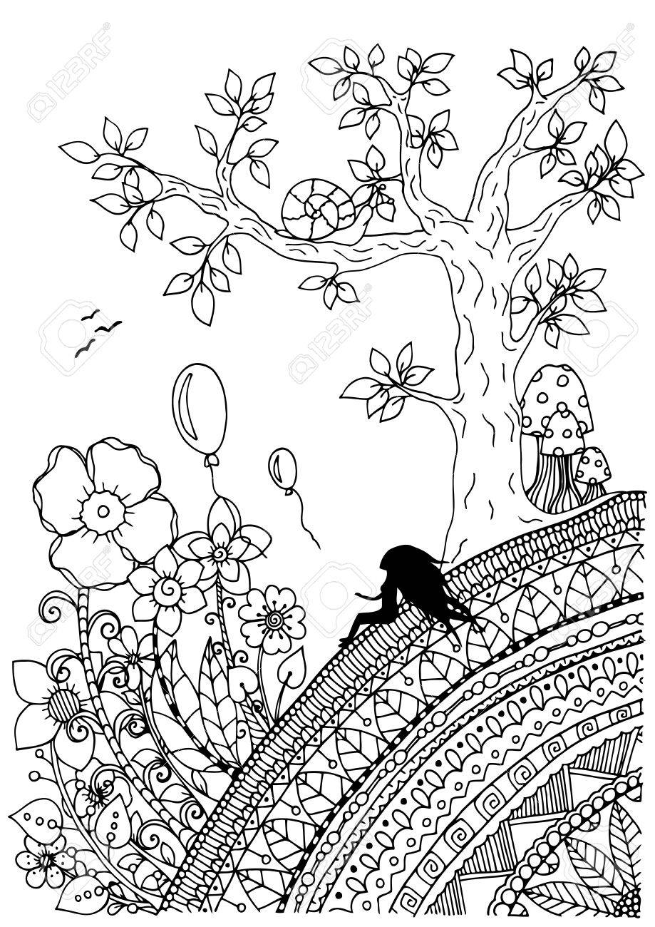 919x1300 Illustration Of Handmade Work, Zentangle Girl Sitting On