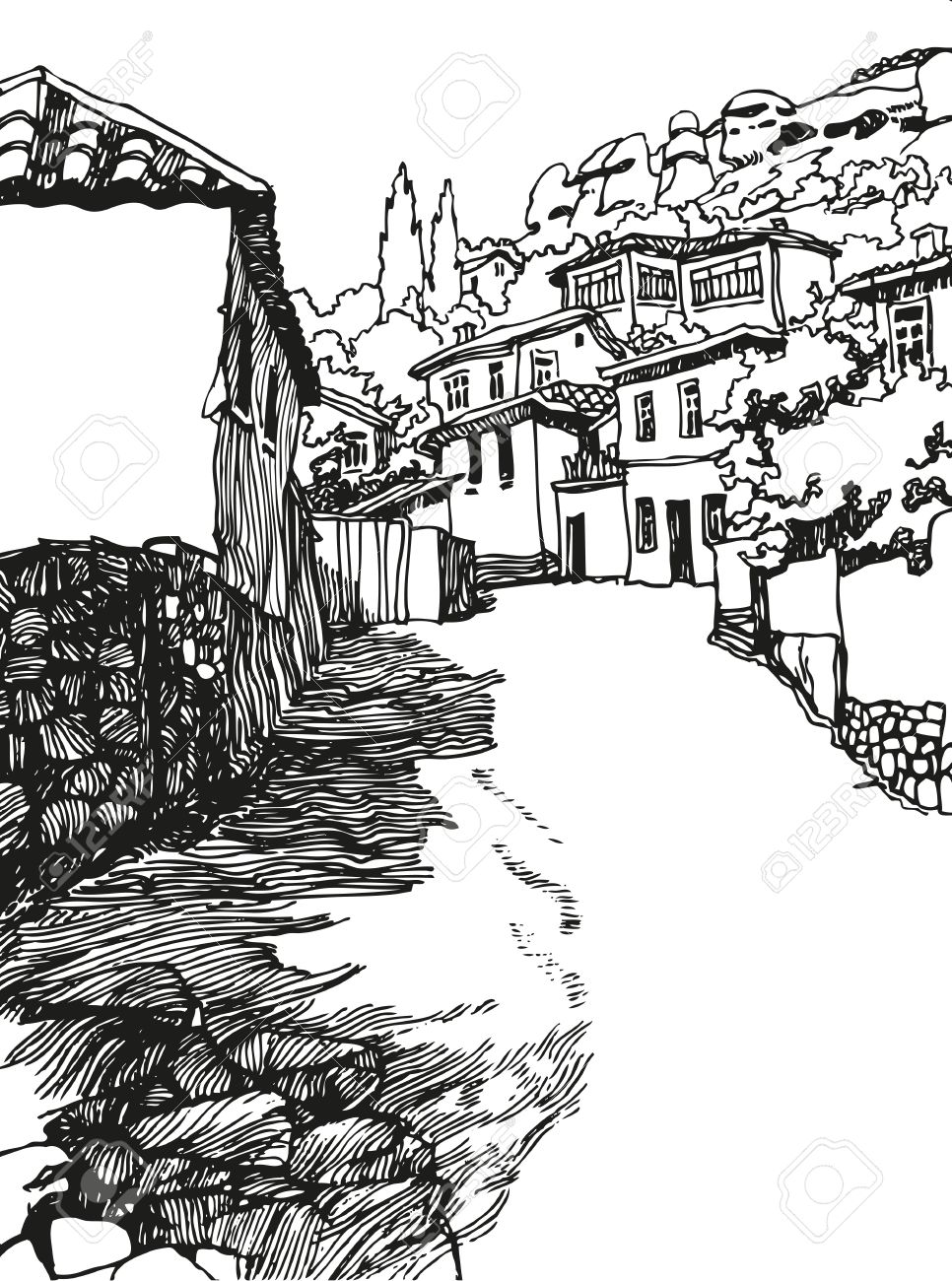 966x1300 Illustration Of The Black And White Design Of The Old City. Sketch