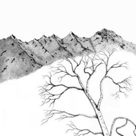 270x270 James Parker Artwork Black And White Mountains Original Drawing