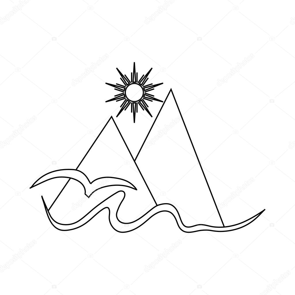 1024x1024 Mountain, Sun,and Sea Icon In Outline Style Stock Vector