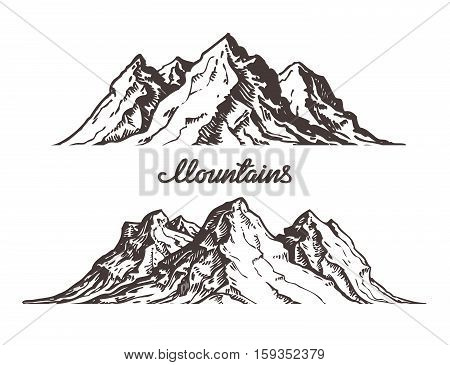 450x365 Mountains Sketch. Hand Drawn Vector Amp Photo Bigstock