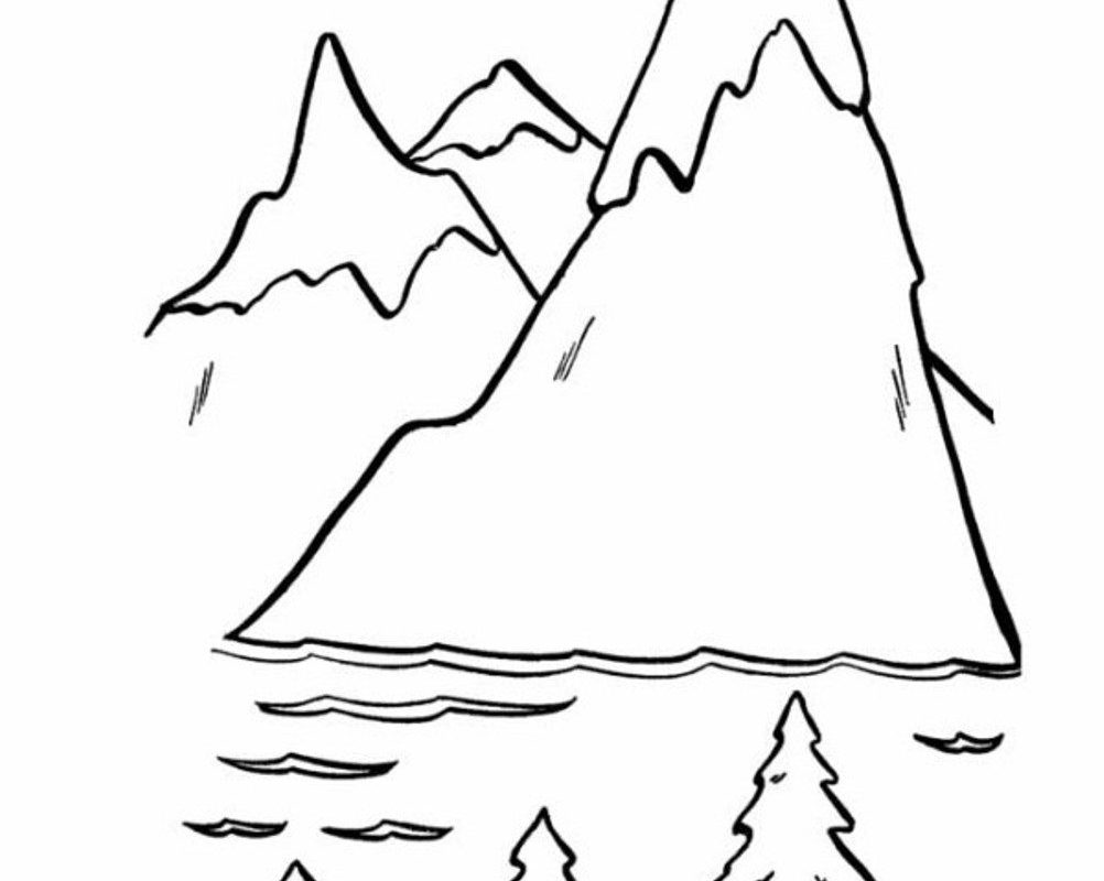 1002x800 Pictures Mountains Coloring Page For Kids Printable Free Pages