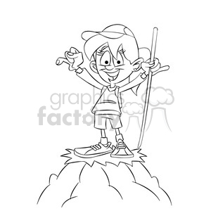 300x300 Royalty Free Trina The Cartoon Girl Character Climbing A Mountain