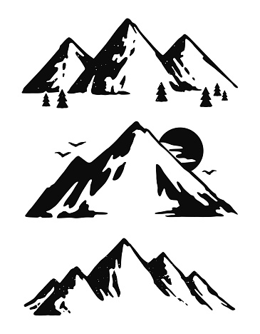 365x468 Three Black And White Mountain Images Embroidery