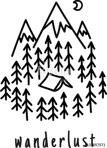 364x500 Wanderlust. Hand Drawn Mountain Adventure Label. Nature Vector