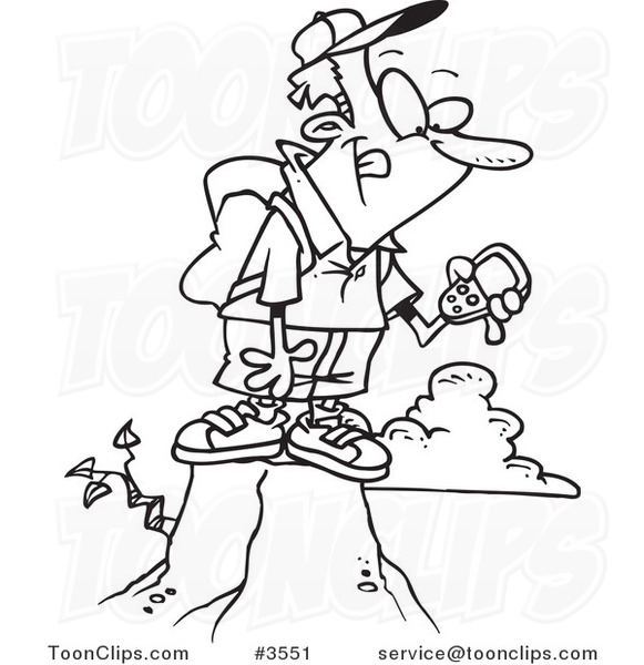 581x600 Cartoon Black And White Line Drawing Of A Guy On Top Of A Mountain