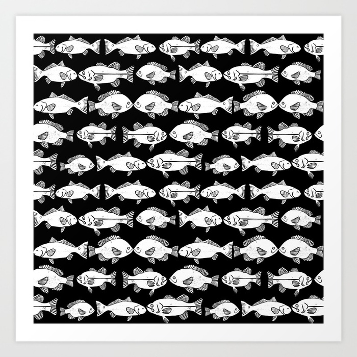 700x700 Linocut Fish Black And White Minimal Ocean Animal Sea Life Dorm
