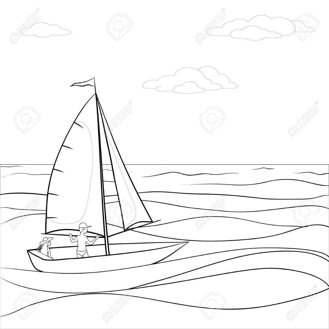 1300x1300 Sea Clipart Black And White